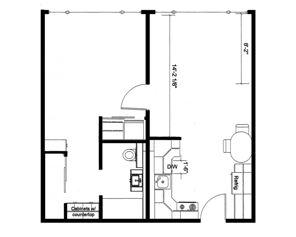 One Bedroom/One Bath 576 sq. ft. $150,754 Entry Fee, $2,576/Month