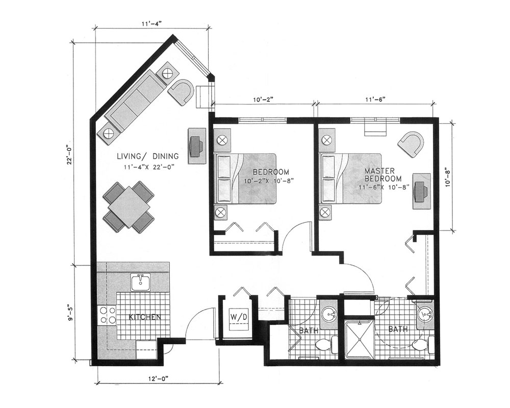 Two Bedroom/Two Bath 825 sq. ft. $230,369 Entry Fee, $3,302/Month