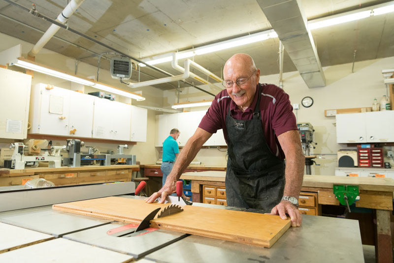 The woodworking shop at Friendsview retirement community