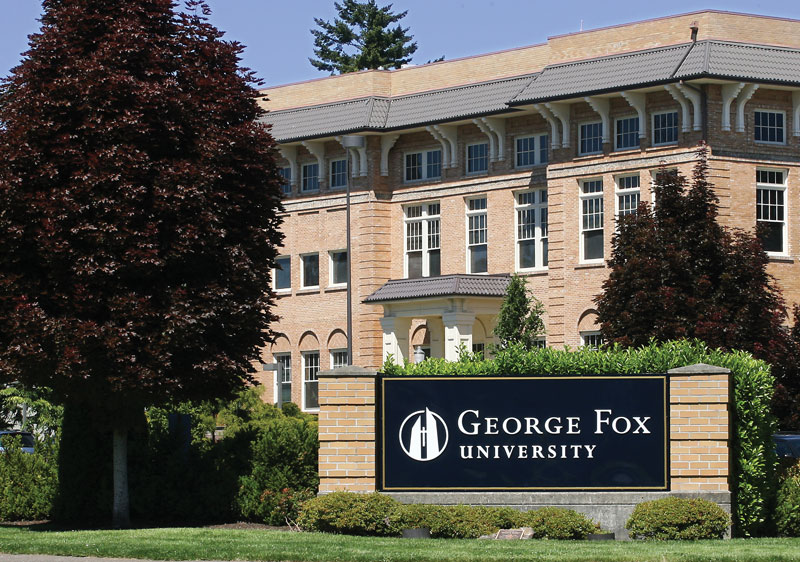A photo of the sign of George Fox University