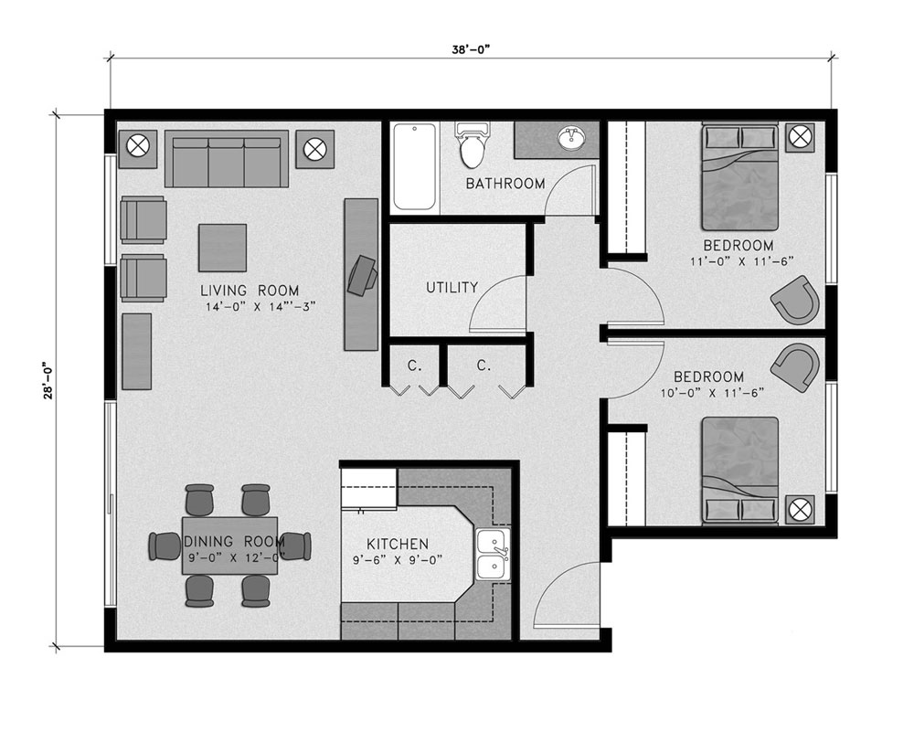 Two Bedroom/One Bath 945 sq. ft. $184,062 Entry Fee, $2,051/Month