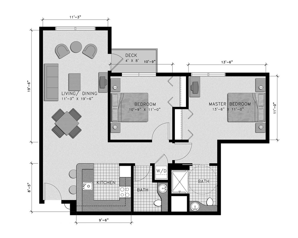 Two Bedroom/Two Bath 915 sq. ft. $251,136 Entry Fee, $3,413/Month