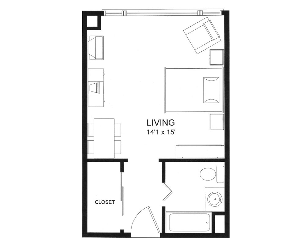 Large Studio/One Bath 336 sq. ft. $104,607 Entry Fee, $2,533/Month