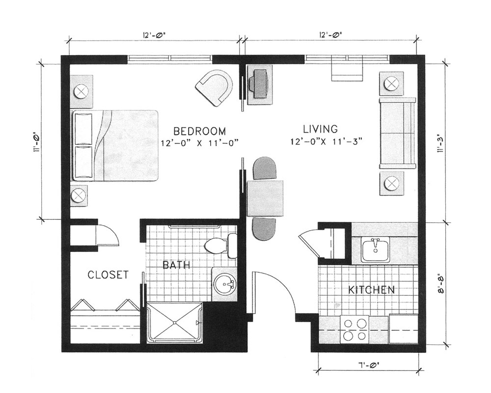 One Bedroom/One Bath 486 sq. ft. $133,449 Entry Fee, $2,737/Month