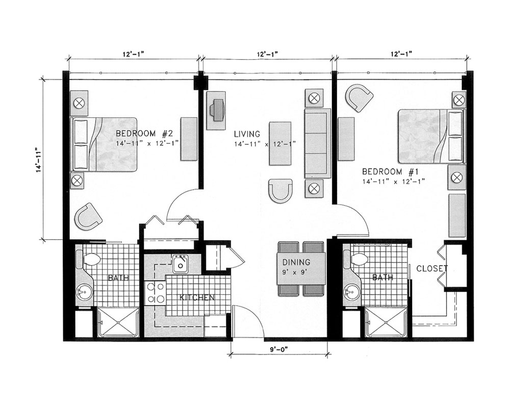 Two Bedroom/Two Bath 860 sq. ft. $238,445 Entry Fee, $3,020/Month