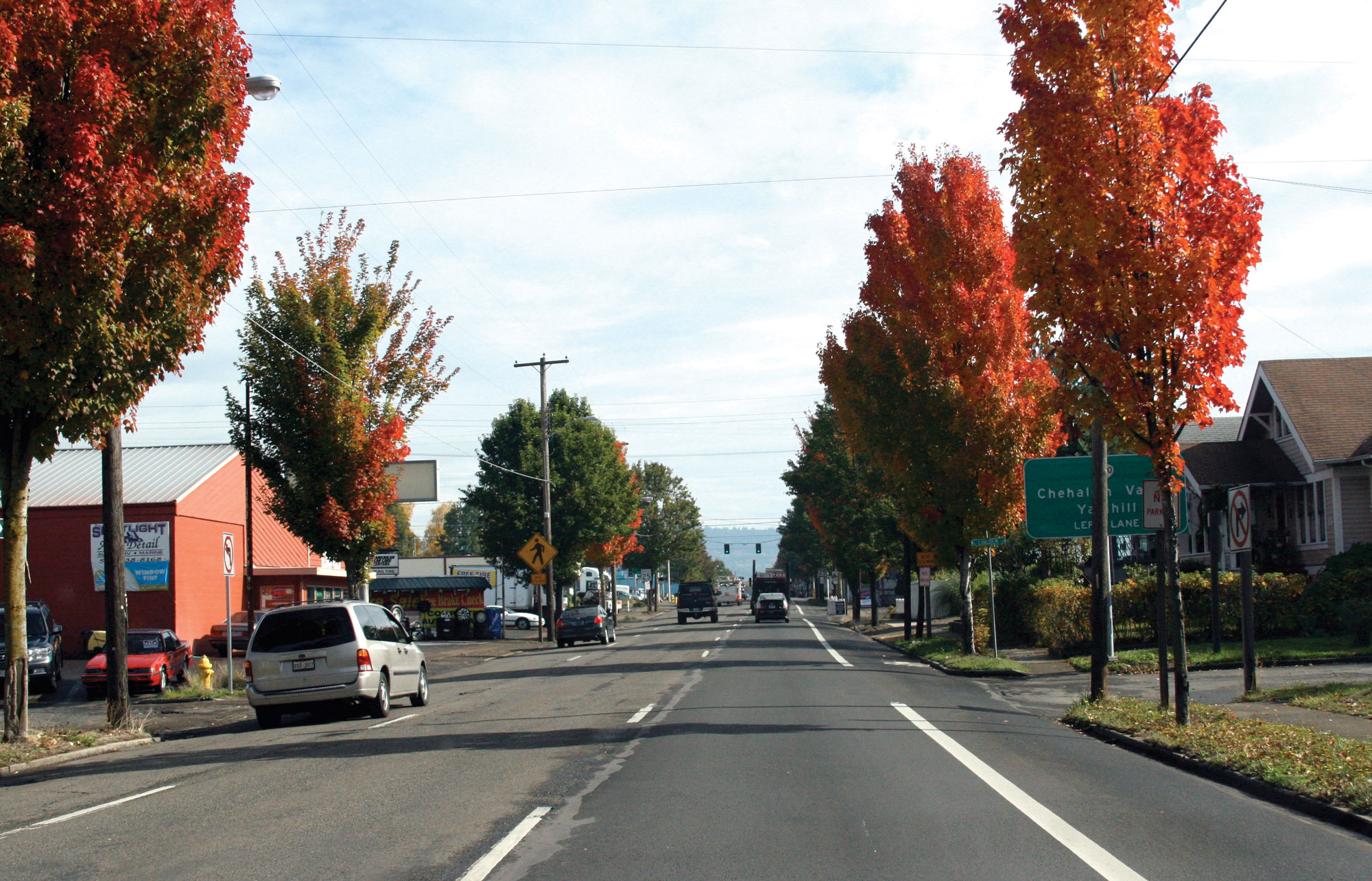 A photo of downtown Newberg, Oregon in the Fall