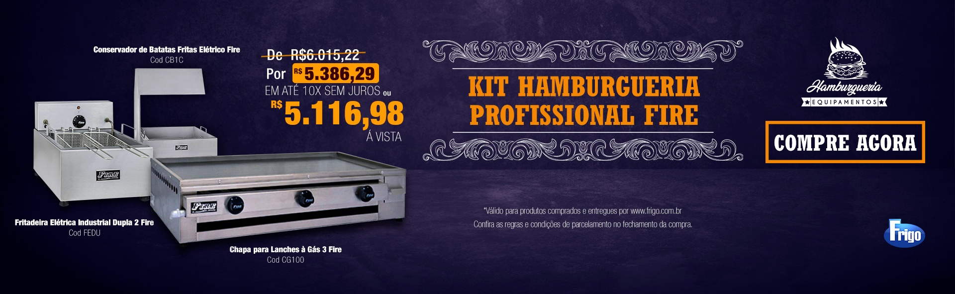 kit hamburgueria profisional fire