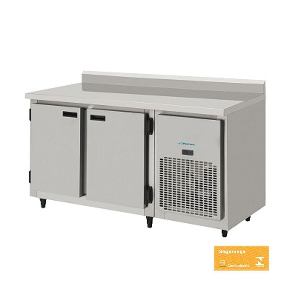 Balcão Refrigerado Encosto de Inox 2 Portas 1,50 mts com Interior Galvanizado Kofisa
