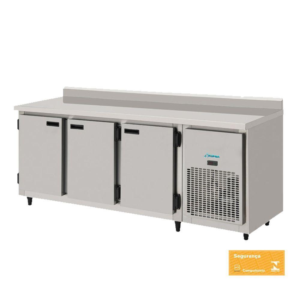 Balcão Refrigerado Encosto de Inox 3 Portas 1,85 mts com Interior Galvanizado Kofisa