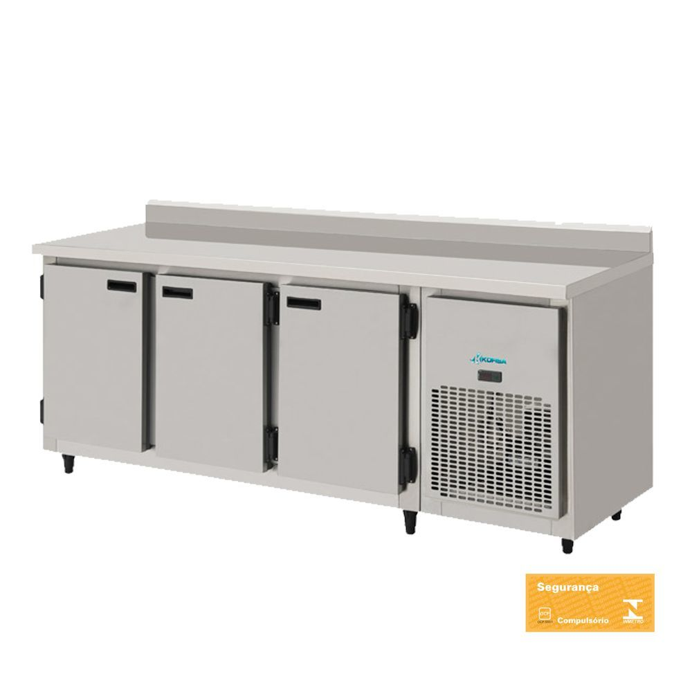 Balcão Refrigerado Encosto de Inox 3 Portas 2 mts interior Galvanizado Kofisa