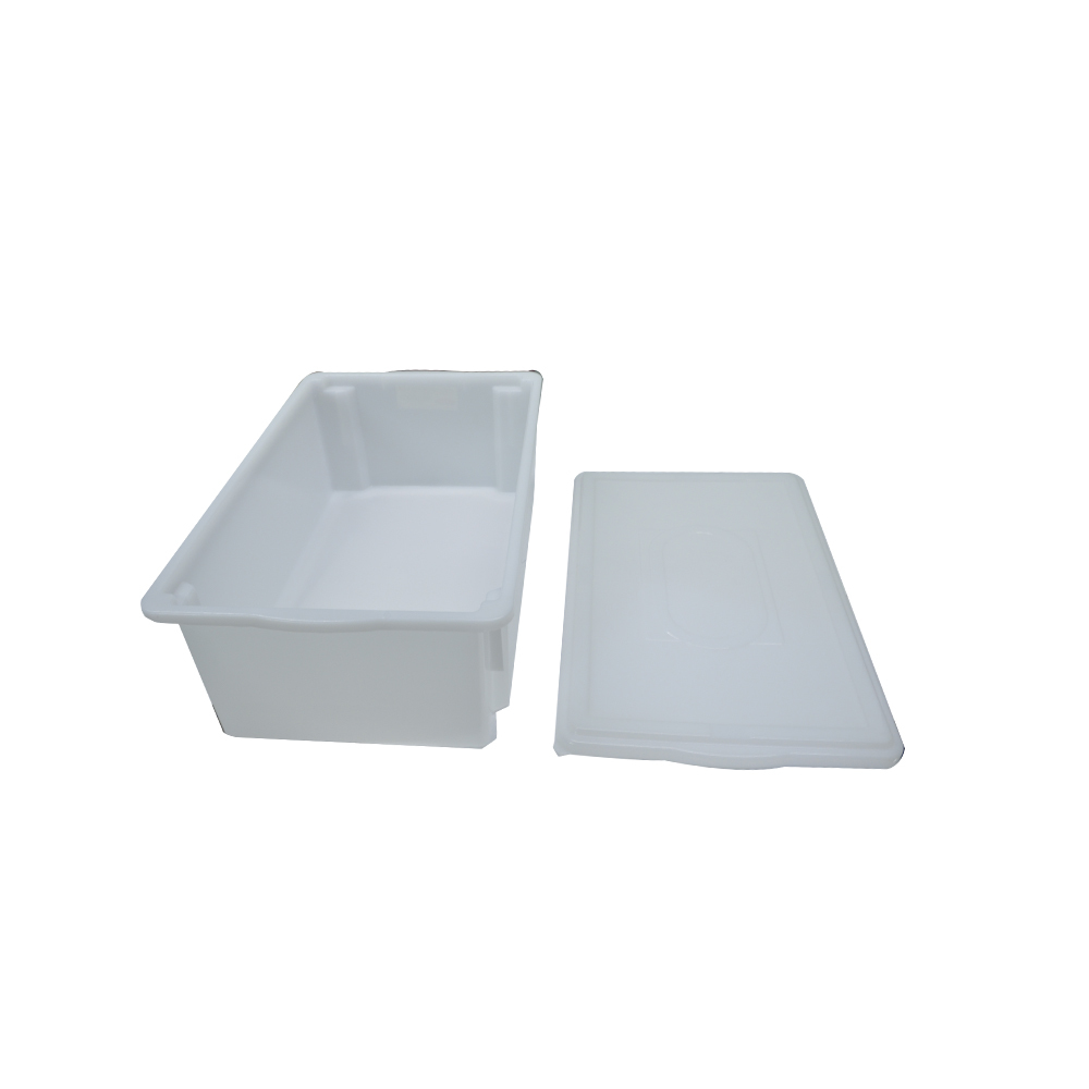 Caixa Plástica Branca Empilhável com Tampa 53X33X18 cm de 25 Litros S800