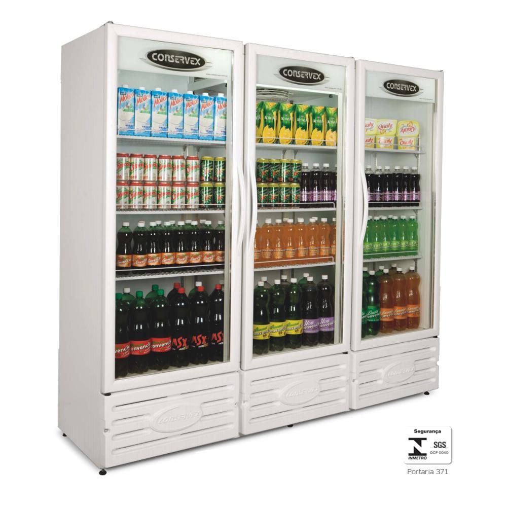 Expositor Refrigerado Vertical 3 Portas 1300 Litros Branco ERV1300 - Conservex