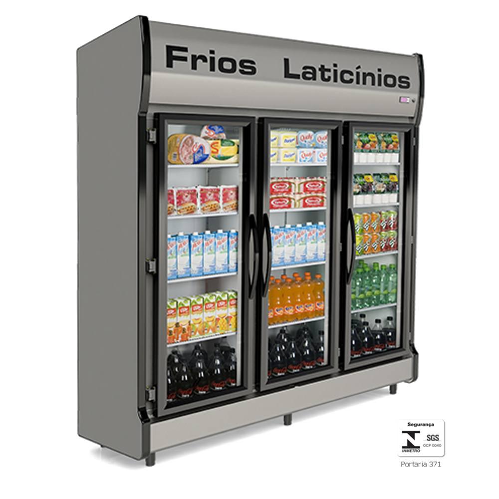 Expositor Vertical Refrigerado 3 Portas Auto Serviço AS3E - Conservex
