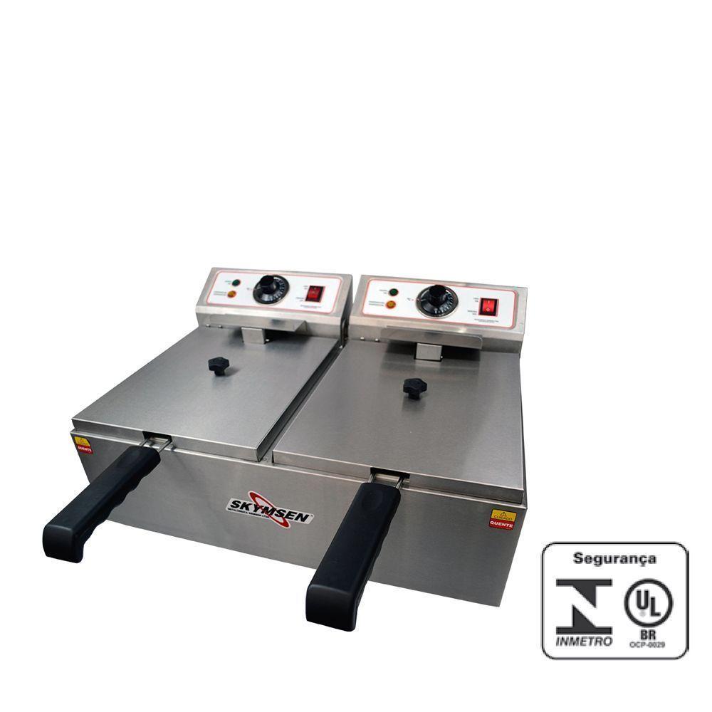 Fritadeira Elétrica Industrial 2 Cubas de Inox Skymsen 220V