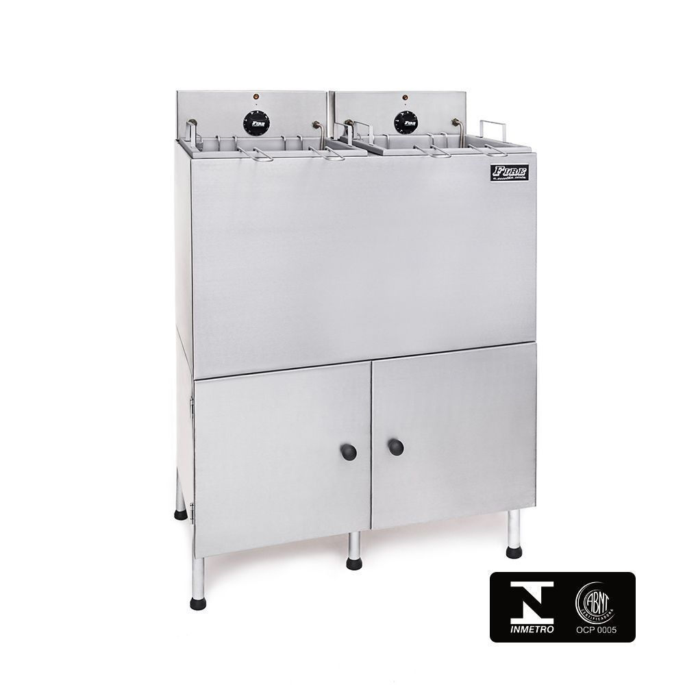 Fritadeira Elétrica Industrial Dupla Com Filtro de Água e Gabinete 220V Fire