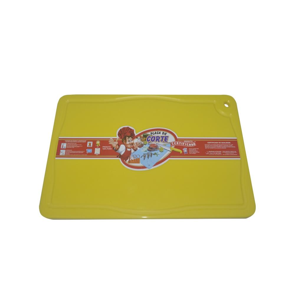 Placa de Corte Amarela com Canaleta em Polietileno 1,5X25X37 cm Pronyl 130