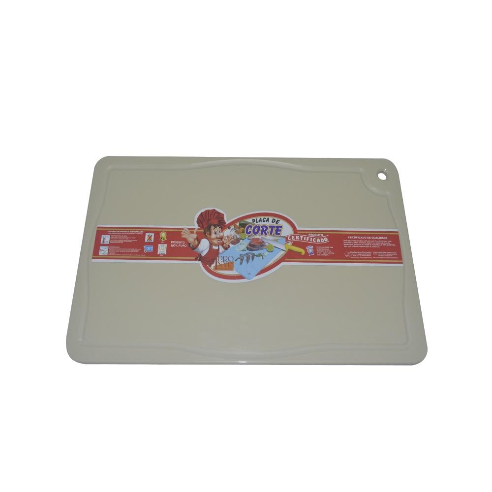 Placa de Corte Bege com Canaleta em Polietileno 1X25X37 cm Pronyl 164