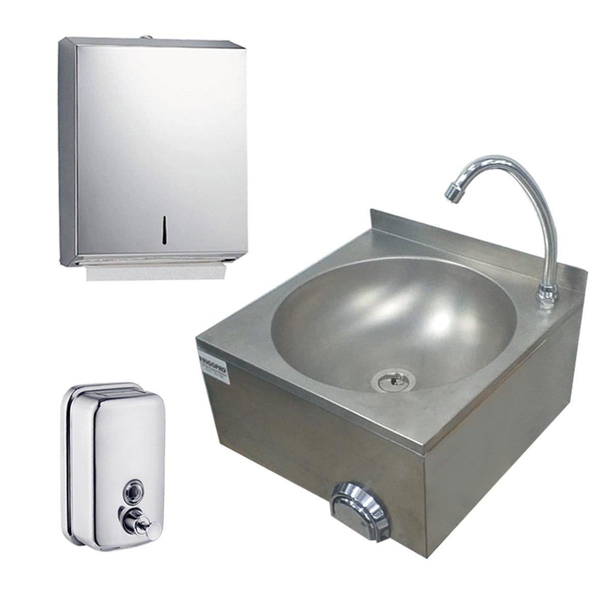 Pia de Assepsia 40x40x20cm Torneira + Dispenser de Sabonete + Dispenser Papel Toalha Inox Frigopro
