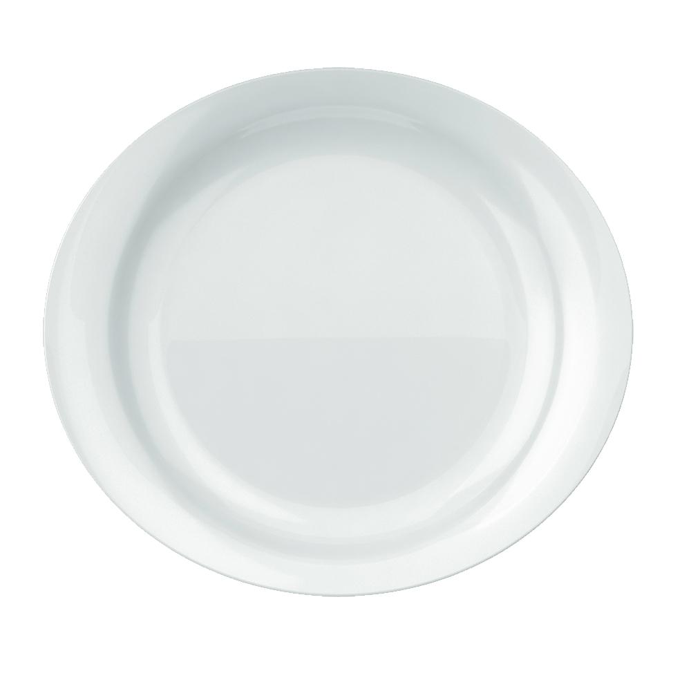 Prato Raso Churrasco Grande Oval Steak 30X27 cm Branco Nadir Figueiredo 5547