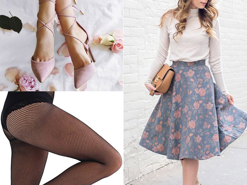 Fishnet tights with dress shoes