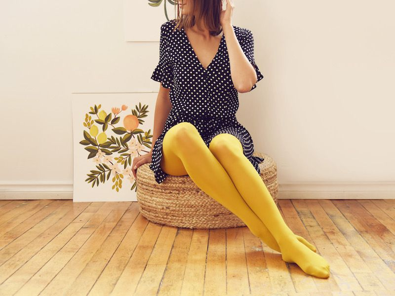 Fashion style How to mustard wear colored tights for lady