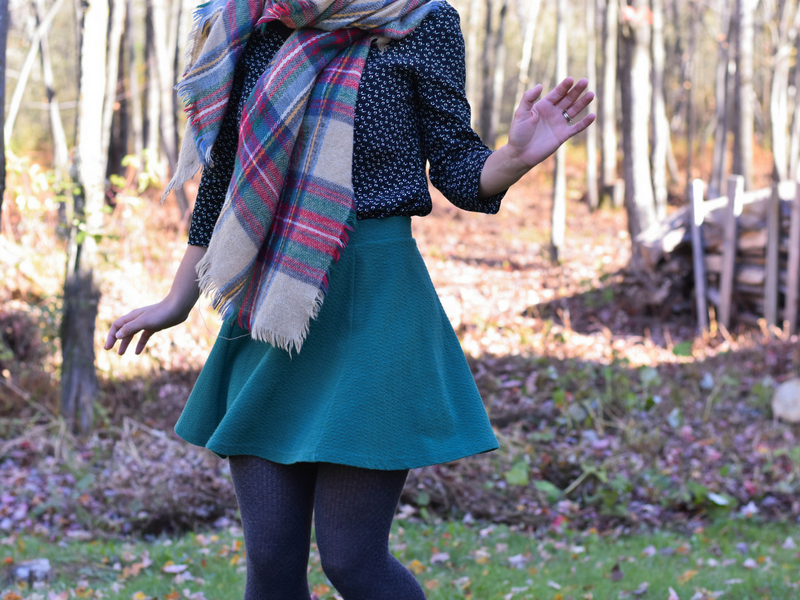 Cotton tights for winter with green skirt