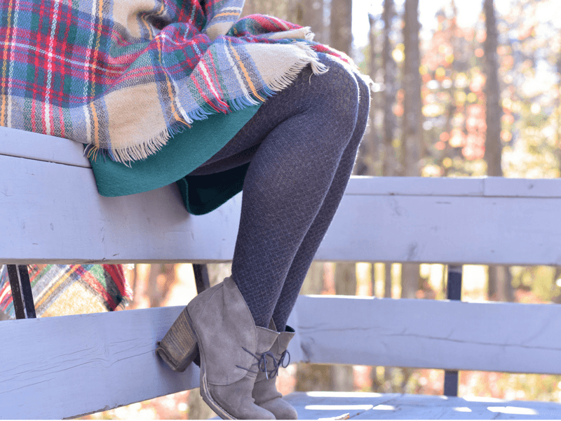 Cotton tights worn with a green skirt.