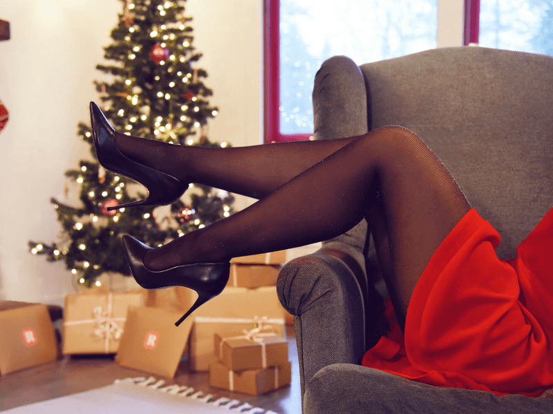 Black Sheer Shimmer Tights complement any red dress.