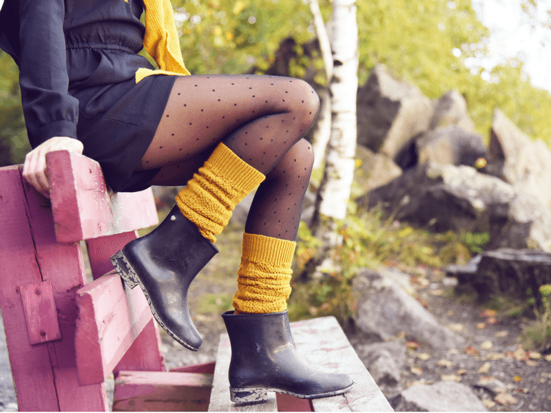 Shoes to wear with tights including rain boots with mustard yellow leg warmers.