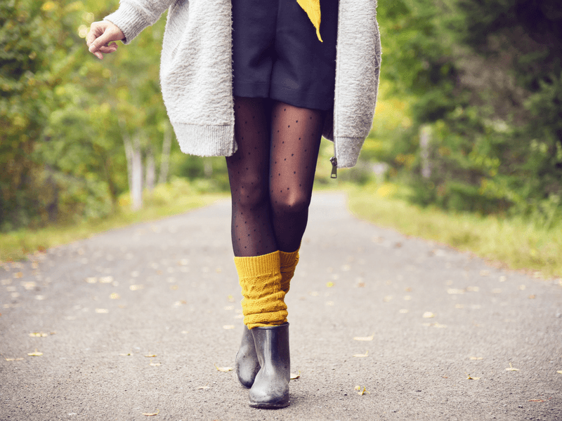 Wear leg warmers with tights and rain boots for a weekend at the chalet.