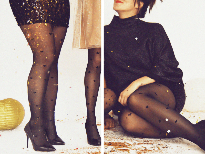 New Year's Eve Party looks featuring heart print tights and a fitted sequin skirt.