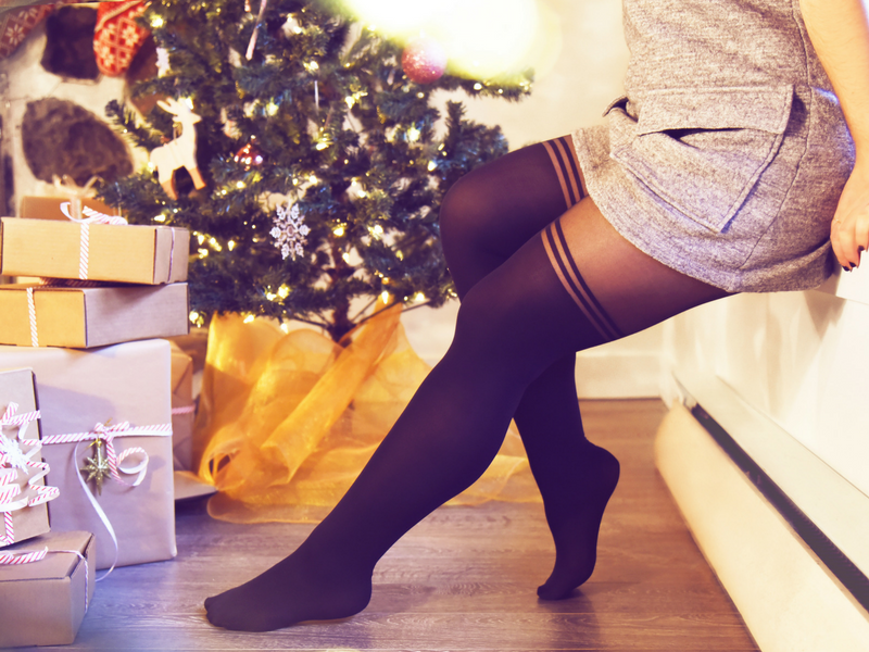 Wear over-the-knee tights with a casual dress in a soft and cozy material.
