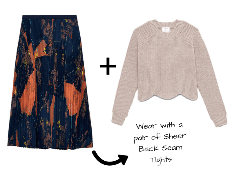 Sweater and Skirt Outfit Ideas for the holidays featuring tights.