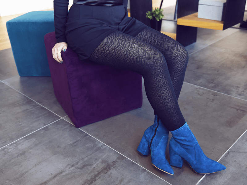 56647716ff7 A pair of black tights in a warm material like cotton or wool are an  absolute must for winter. Thick tights always look best when they have a  print