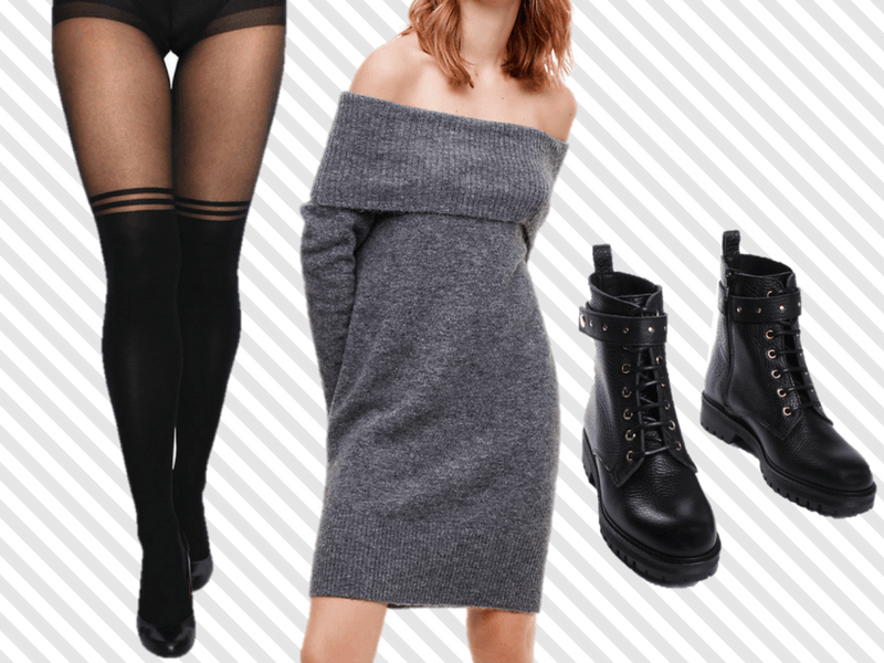 Choose a sweater dress with a relaxed silhouette and jazz up your look with over-the-knee stripe tights in the winter.