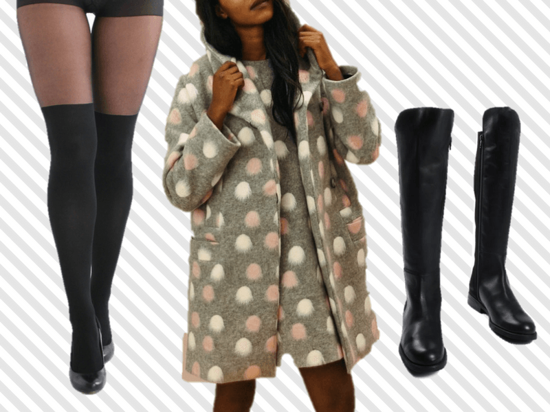 Get the perfect layered look by wearing a pair of riding boots with your over-the-knee-tights in the winter.