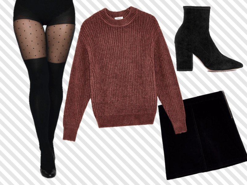 Opt for a mini skirt and wear it with our over-the-knee tights in the winter for a classy look.