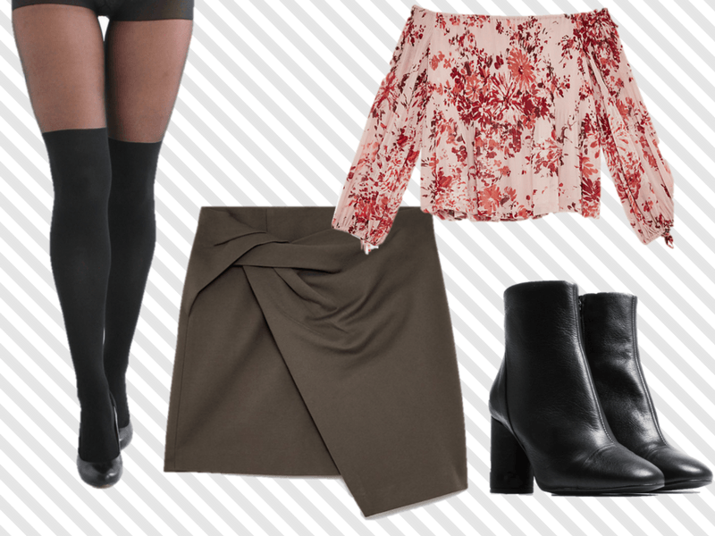 Date outfit with over-the-knee tights.