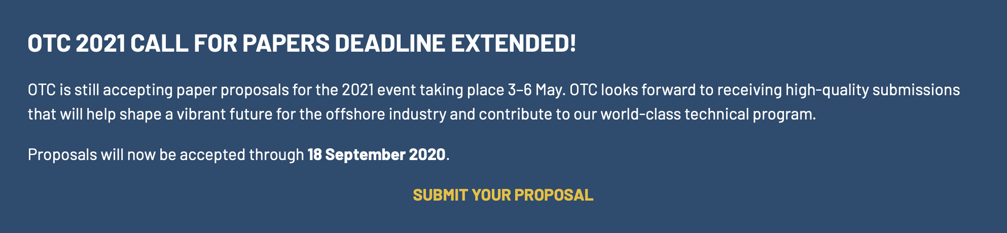 OTC Call for Papers