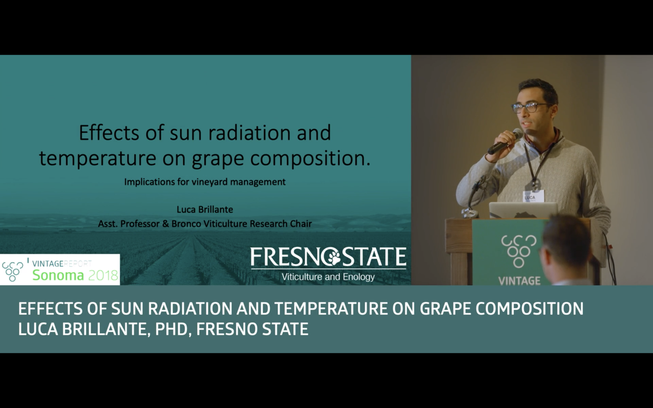 Sonoma 2018 - Luca Brillante - Effects of sun radiation and temperature on grape composition