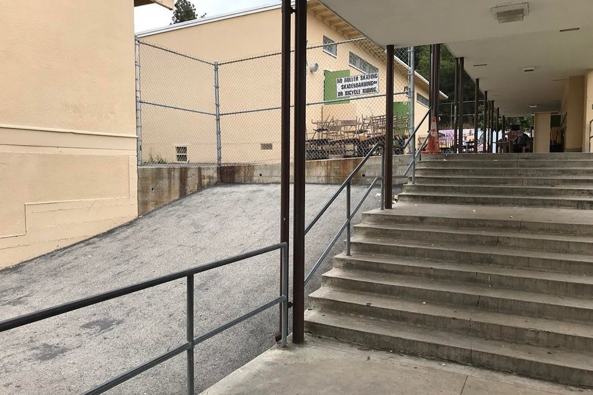 Image for skate spot Paul Revere Charter Middle School Over Rail Into Bank