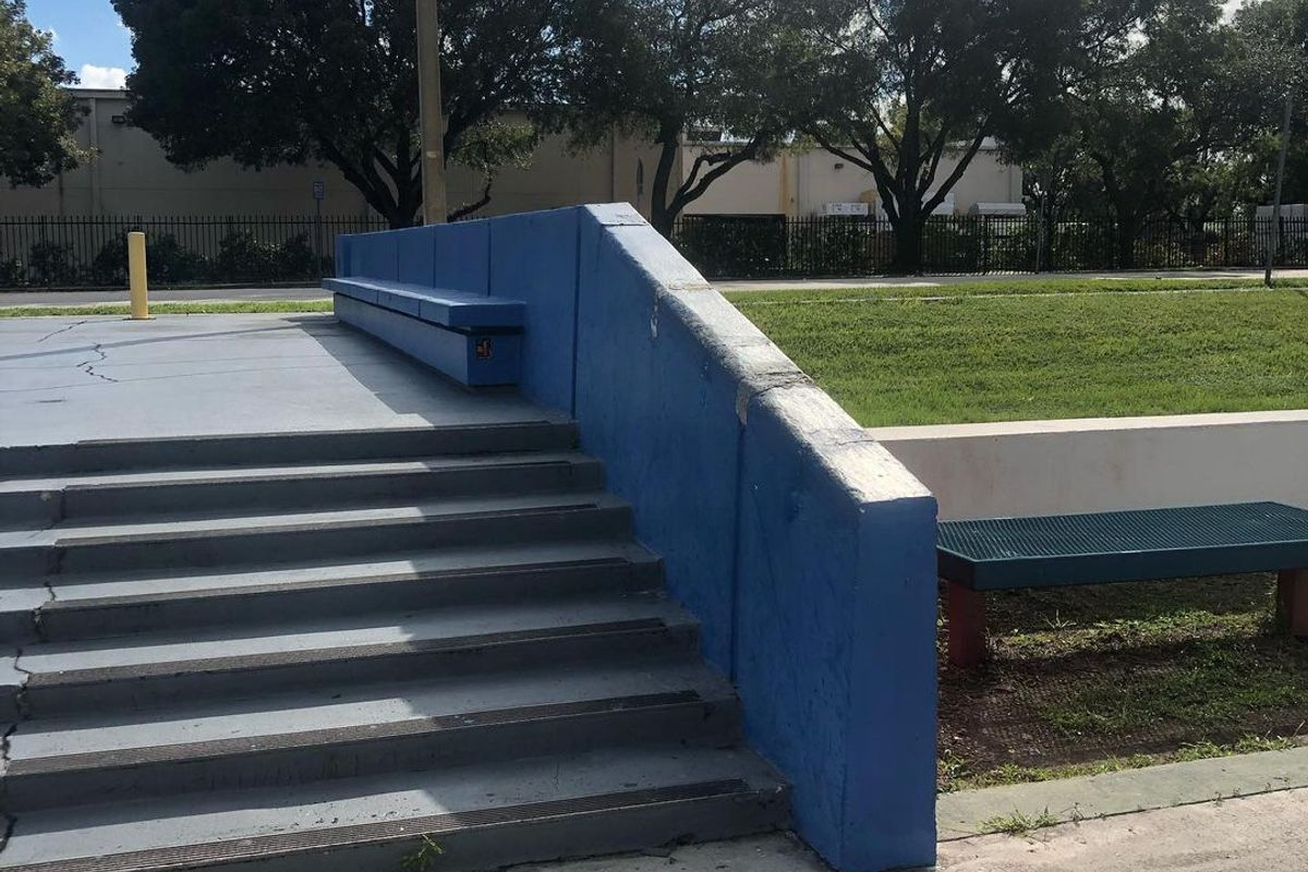 Image for skate spot North Miami Beach High School 7 Stair Hubba