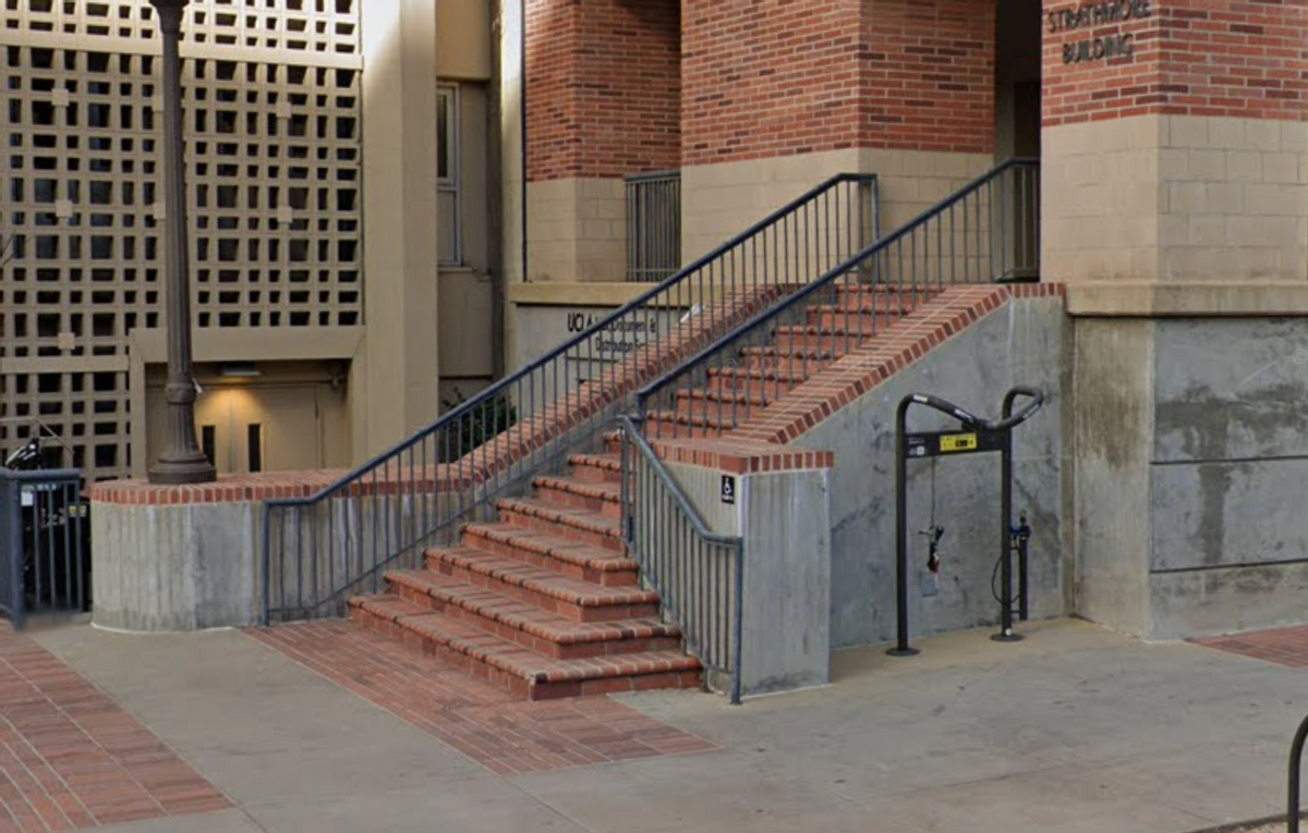 Image for skate spot UCLA - 15 Stair Pop Out Rail