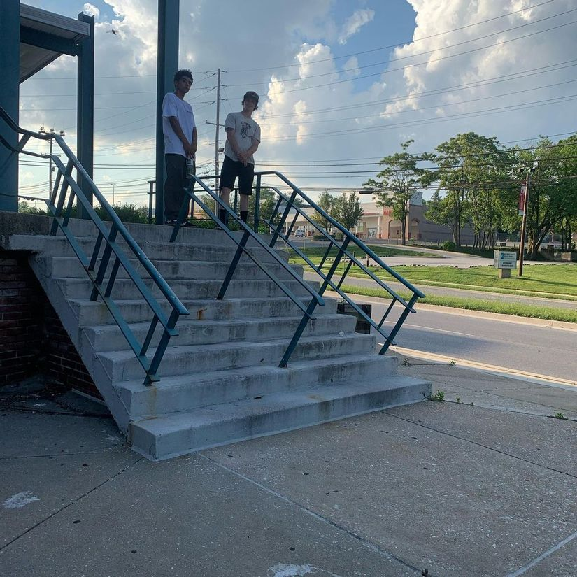 Image for skate spot Taylor Ave - 9 Stair Rail / Bank