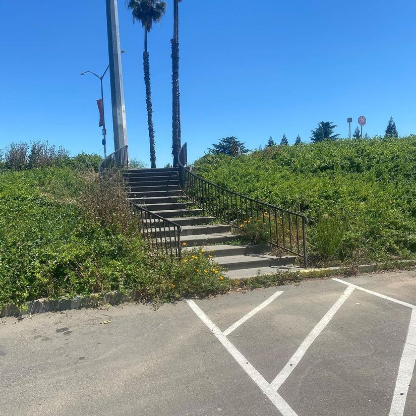 Image for skate spot Pacific Ave - Curved 15 Stair Rail