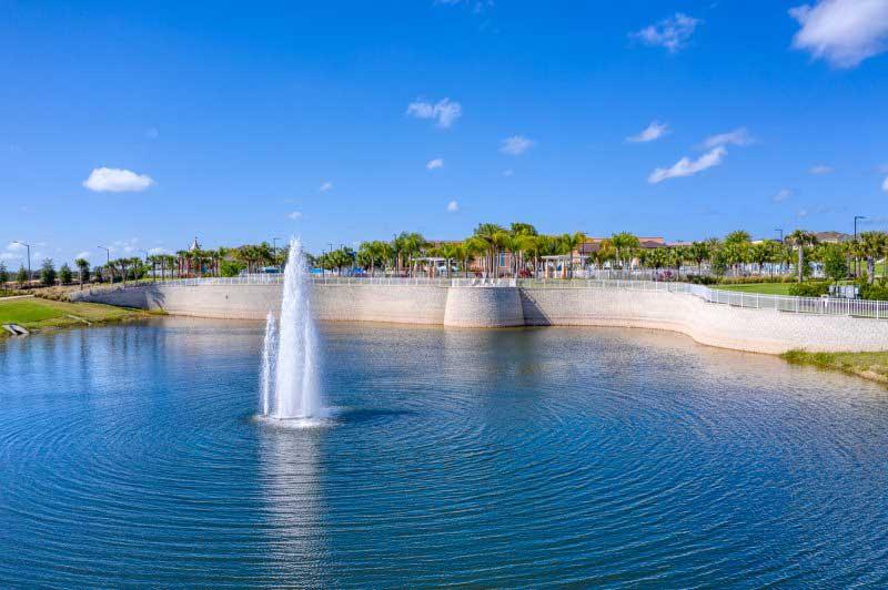 Solara resort water fountain lake