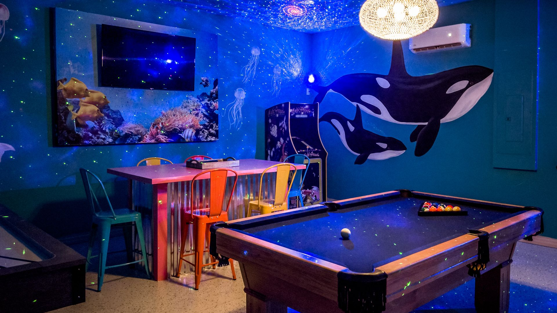 Game Room (Angle 2) Special Lighting in Game Room Special Ocean sound effects Air conditioning