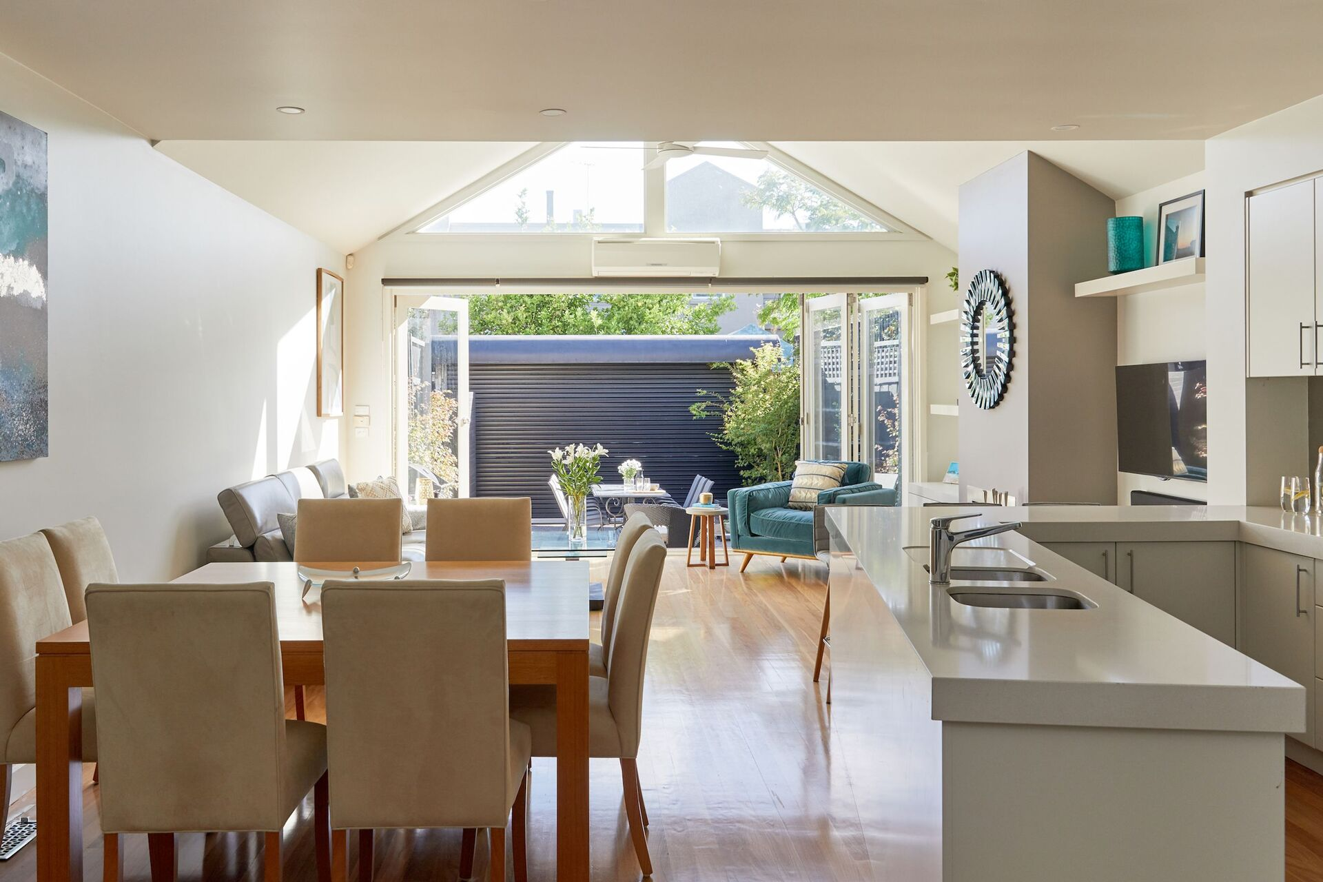 the spacious open plan kitchen / dining area
