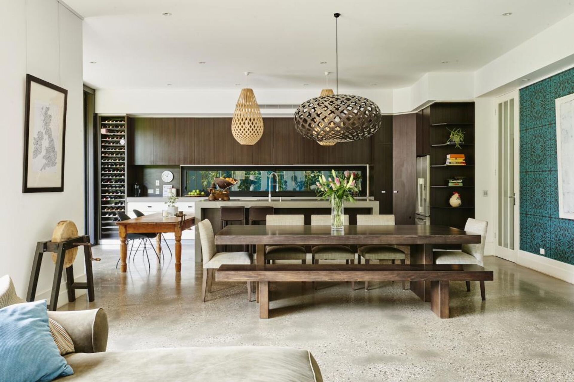 huge wooden table in dining space