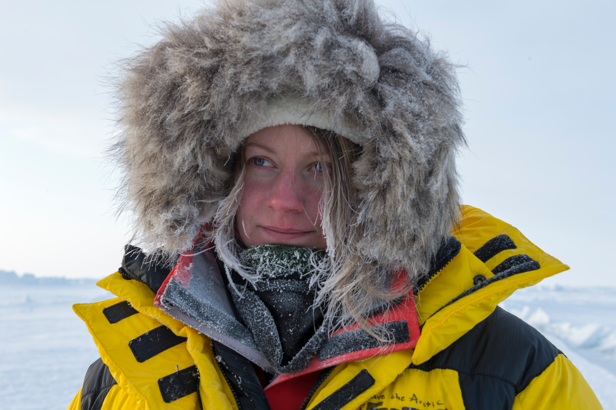 Josefina Skerk, a member of the Sami community in Sweden, on arrival at the North Pole. She is part of a Greenpeace team who has brought a time capsule containing 2.7 million names of supporters who wish to protect the Arctic. They plan to lower the capsule and a 'flag for the future' to the seabed beneath the North Pole.